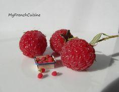 Punnet of loose raspberries - 1/12 Handmade miniature food