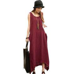 UK 8-24 ZANZEA Women Boho Summer Cotton Linen Loose Tunic Long Maxi Dress Kaftan