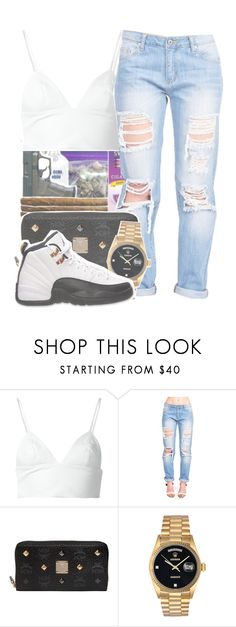 """""""how tf he break your heart and he can't even cop a zip"""" by kennedy-xoxo ❤ liked on Polyvore featuring T By Alexander Wang, MCM, Rolex and Retrò"""