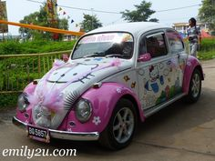 VW Beetle Hello Kitty? Oh dear....  Basil would LOVE this.