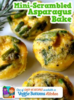 Mini-Scrambled Asparagus Bake is one of over 45 kid-friendly, vegetarian recipes included in Veggie Bottoms Kitchen – The top-rated cookbook app for kids!