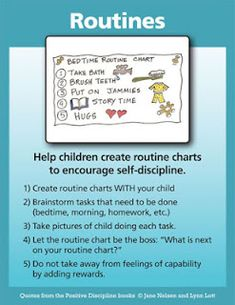 The more children do for themselves, the more capable and encouraged they feel. One of the best ways to avoid bedtime hassles and morning hassles is to get children involved in creating routine charts and then letting them follow their charts instead of telling them what to do.