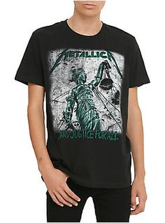 Metallica T-shirt with <I>...And Justice for All</I> inspired design on front.