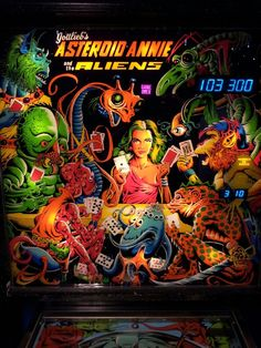 """Gottlieb's """"Asteroid Annie and the Aliens"""" Backglass."""
