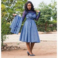Top shweshwe dresses with apron - Reny styles shweshwe dresses with apron Diyanu Fashion African Print Dresses, African Fashion Dresses, African Dress, Ankara Fashion, African Prints, African Wear, Ghana Mode, Seshweshwe Dresses, Mode Wax