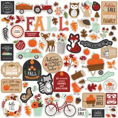 Echo Park My Favorite Fall Elements Cardstock Stickers Warm up to a gorgeous collection of stickers by Echo Park! This sticker sheet boasts images of woodland animals, pumpkins, leaves, flowers and lots of fall phrases. Included in the package is one 12 Agenda Stickers, Journal Stickers, Scrapbook Stickers, Printable Stickers, Cute Stickers, Planner Stickers, Journaling, Echo Park Paper, Aesthetic Stickers