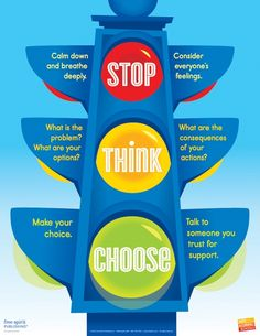 STOP, THINK, CHOOSE. I picked this for understanding how to shape behavior. I chose it because I think it could be a good strategy to instill in kids to be able and stop and think and not just act on impulse. Coping Skills, Social Skills, Life Skills, Social Games, Counseling Activities, Therapy Activities, Play Therapy, Speech Therapy, Social Work Activities