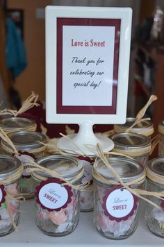 Casual Country Wedding Favors - love is sweet candy in jars