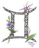 Zodiac Flower Design: Gemini by D-Angeline