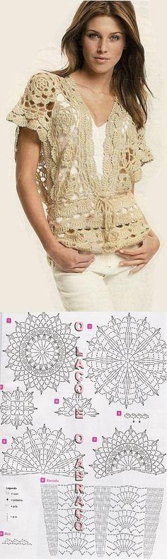 woman fashion, inspiration, chart, boleros, knit, crochet vests, tejido, crochet patterns, crochet tops