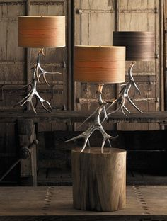 Aluminum Antler Lamp - http://www.FancyGiving.com - These highly fashionable table lamps are produced with sand cast aluminum and real wood veneer shades.