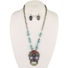 New SUGAR SKULL Turquoise Chip WOMEN'S Necklace & Earring SET Western - SILVER