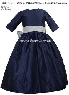 Navy blue and Sky Gray silk flower girl dress - add any sleeve length or do in 200+ fabulous silk colors