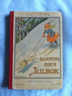 Tiny Vintage Edwardian Child Book Sweden 1911 Jenny Nystrom Skis Rabbit Girl