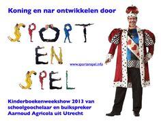Illustratie bij artikel uit het Stadsblad over de kinderboekenweekshow 'Koning en nar ontwikkelen door sport en spel'van goochelaar en buikspreker Aarnoud Agicola in het Stadsblad Utrecht.