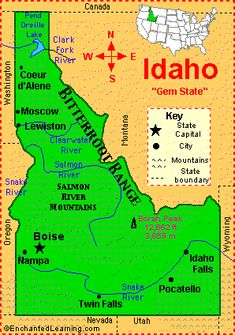 Idaho - On our way cross-country trip in 1998 with our kids, Sarah and Douglas, we drove through the potato state.