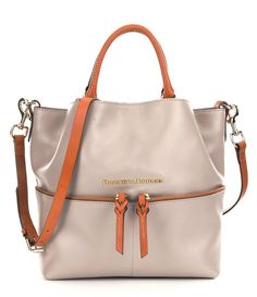 NWT Dooney & Bourke City Dawson Large Oyster Gray Leather Satchel Shoulder Bag #DooneyBourke #Satchel
