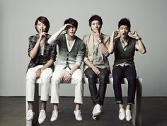 Code Name BLUE (a.k.a C.N.BLUE)  That's a Korean rock band, including Jung Yong Hwa (leader, main vocalist, guitarist), Lee Jong Hyun (vocalist, guitarist), Lee Jung Shin (bassist), Kang Min Hyuk (drummer).    They're not just idols, they're real artists who play true music and conquer audiences by their own talents. They're also brave men who can overcome all difficulties to purchase their dream - music.   They're handsome guys and they even look better when they're on stage.