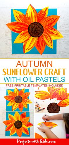 Sunflower printable sunflower template preschool to cut free templates Arts And Crafts For Adults, Easy Arts And Crafts, Fall Crafts, Kids Crafts, Autumn Crafts For Adults, Painting Crafts For Kids, Holiday Crafts, Sunflower Crafts, Sunflower Art