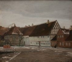 Johan Rohde (1856-1935): Winter Evening in Ribe, Jutland, 1892