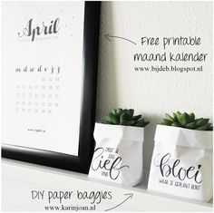 bijdeb: Free printable maand kalender April...