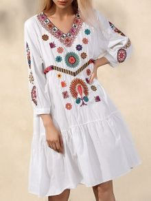 Colored Embroidery V Neck Long Sleeve Dress WHITE: Bohemian Dresses   ZAFUL