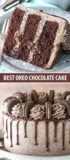 This Chocolate Oreo Cake recipe is to die for! A moist chocolate cake recipe full of Oreo icing and crushed up Oreos. An Oreo lover's dream dessert. #oreocake #chocolatecake Oreo Cake Recipes, Easy Cheesecake Recipes, Easy Cake Recipes, Easy Oreo Cake Recipe, Pie Recipes, Pasta Recipes, Chocolate Oreo Cake, Chocolate Cookie Recipes, Birthday Cakes