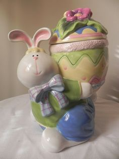 Home Interior Easter Bunny Rabbit Holiday Ceramic Cookie Jar 12"