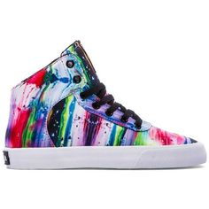 Supra Cuttler Sneaker (£33) ❤ liked on Polyvore featuring shoes, sneakers, high tops, zapatos, melted rainbow, high top shoes, rainbow shoes, laced shoes, rainbow footwear and high top sneakers