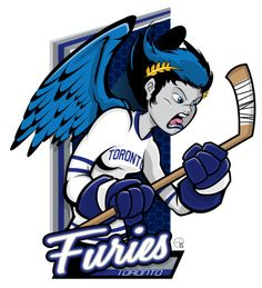 This season, our good friend Eric Poole has expanded his repertoire to include Canadian Women's Hockey League teams. This is the Toronto Furies. Dek Hockey, Women's Hockey, Hockey Girls, Hockey Players, Hockey Stuff, Nhl Logos, Hockey Logos, Sports Logos, Hockey Memes