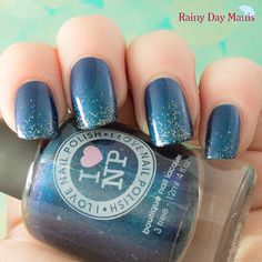 I Love Nail Polish Northern Lights with INM's Northern Lights topcoat holo-glitter gradient