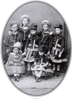 Prince Ernst and his sister Princess Alix of Hesse with their Wales cousins, Prince Albert Victor, Prince George, Princess Louise, Princess Victoria and Princess Maud of Wales, 1875.