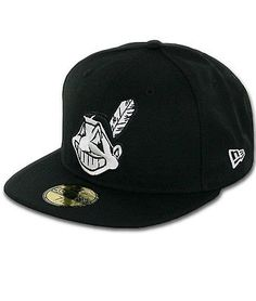 New Era Cleveland Indians BK WH Fitted Hat (Black/White) Men's 59Fifty Cap