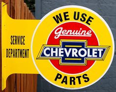 Chevrolet Parts Genuine Chevy Service double sided Flange Tin Metal Sign Mechanic Garage