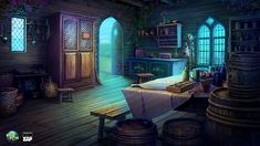 cabin Interior by CiCiY on DeviantArt Scenery Background, Fantasy Background, Fantasy Forest, Fantasy Castle, Fantasy Concept Art, Fantasy Art, Animation Classes, Drawing Room Design, Episode Backgrounds