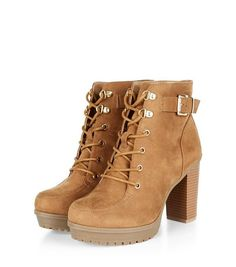 Shop Wide Fit Tan Suedette Buckle Strap Lace Up Boots . Discover the latest trends at New Look. Lace Up Boots, Ankle Boots, Shoe Gallery, Saved Items, Timberland Boots, New Look, Latest Trends, Wedges, Fitness