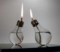 old light bulbs turned into oil lamps {ha!}