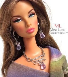 Lavender glass beads on intricate silver design doll necklace and earrings by MiniLuxeCollection, $28.00