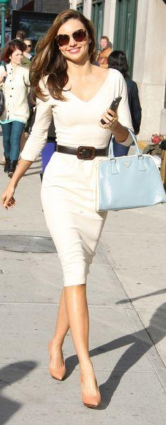 Victoria Beckham dress, Prada belt and bag and Lanvin shoes