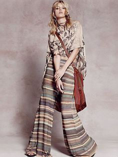 Free People Womens Stripe Flare Pants