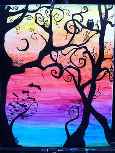 Creepy Swirly Rainbow Tree11x14 Water Color Canvas by BubbleFab, $75.00