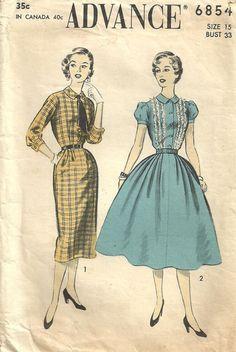 Advance 6854 / Vintage Fifties Sewing Pattern / Dress / Size 15 Bust 33