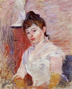 Young Girl in White by Berthe Morisot. Impressionism. portrait. Private Collection