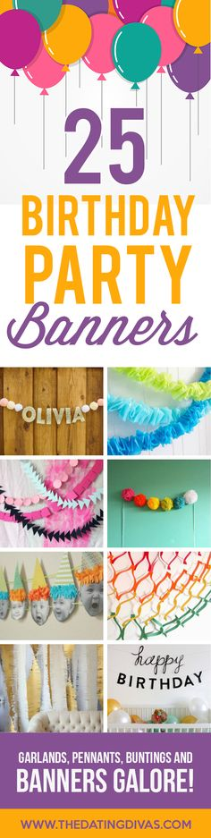Cute Birthday Party Banners, Garlands and Pennants - Fun DIY Birthday Banners to help decorate and celebrate a kid, family member, spouse or friend's birthday and make them feel special. Birthday Blast, 25th Birthday Parties, Diy Birthday Banner, Birthday Party Decorations Diy, Birthday Party Themes, Diy Banner, Birthday Ideas, Banner Ideas, Birthday Crafts