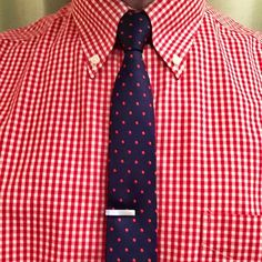 """Red Gingham Shirt, Navy Blue Red Polka Dot Tie, Brushed Silver 1"""" Tie bar from @thetiebar"""