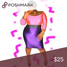 Plus size spandex colorblock dress BNWOT Plus size spandex colorblock dress BNWOT. Top is bright pink and bottom is purple Dresses