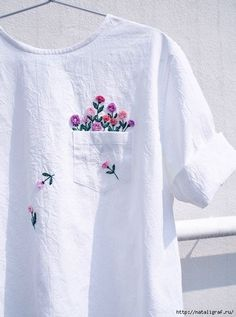 Embroidered clothing by Juno Embroidery. diy kleidung Clever Embroidery Imagines Squirrels Running Amok on Ordinary Clothing Embroidery On Clothes, Embroidered Clothes, Embroidery Fashion, Embroidered Flowers, Embroidery Books, T Shirt Embroidery, Ribbon Embroidery, Embroidery Sampler, Hardanger Embroidery