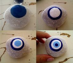 Stone Crafts, Rock Crafts, Diy And Crafts, Arts And Crafts, Kids Crafts, Dot Painting, Stone Painting, Evil Eye Art, Rock And Pebbles