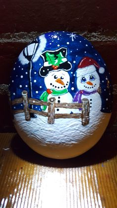 Snowman & Wife Painted Rock Artist: Anita Schmidt