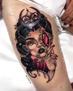 Girl portrait tattoo by Olie Siiz